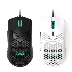 Nowa mysz do gier o strukturze plastra miodu Pixart 16000DPI czujnik optyczny i biała przewodowa mysz gamingowa RGB na PC laptop gry gracza