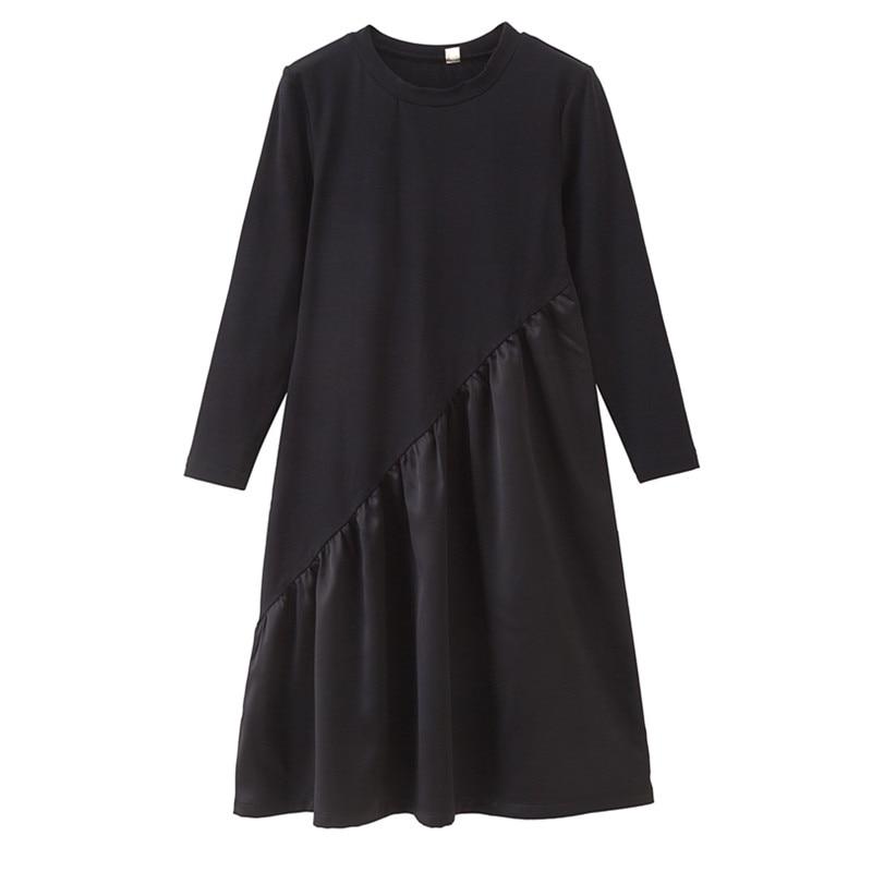 4 To 14 Years Kids & Teen Girls Cotton Satin Long Sleeve Casual Flare Dress Children Girl Fall Winter Crew Neck Black Dresses
