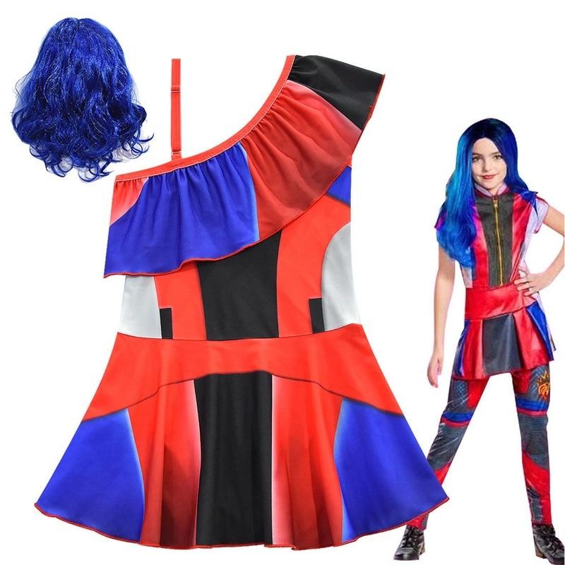 2020 New Summer Descendants Cosplay swimming Kids girls princess dresses Descendants wig children Swimsuit costume vestidos 2pcs