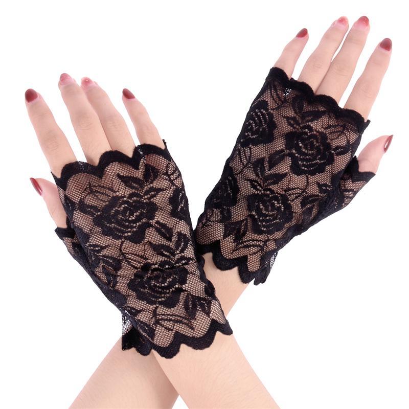 Women Half Hand Bridal Gloves Sun Block Short Glove Black Lace Wedding Gloves UV Protection Fingerless Gloves For Driving
