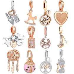ELESHE 925 Sterling Silver Pendant Rose Gold Charms Beads Fit Original Bracelet Necklaces DIY Making Fashion Jewelry Accessories