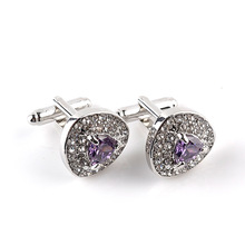 5pair/lot Fashion Cufflinks Luxury Zircon Black Purple White Crystal Cuff Bottons Alloy Cuff Links Valentine Wedding Jewelry