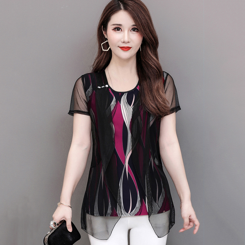 5XL Large Size Women Short Sleeve Chiffon Mesh Shirts Mother Fake Two Pieces Blouses Summer Fashion Stripe Tops Pullover
