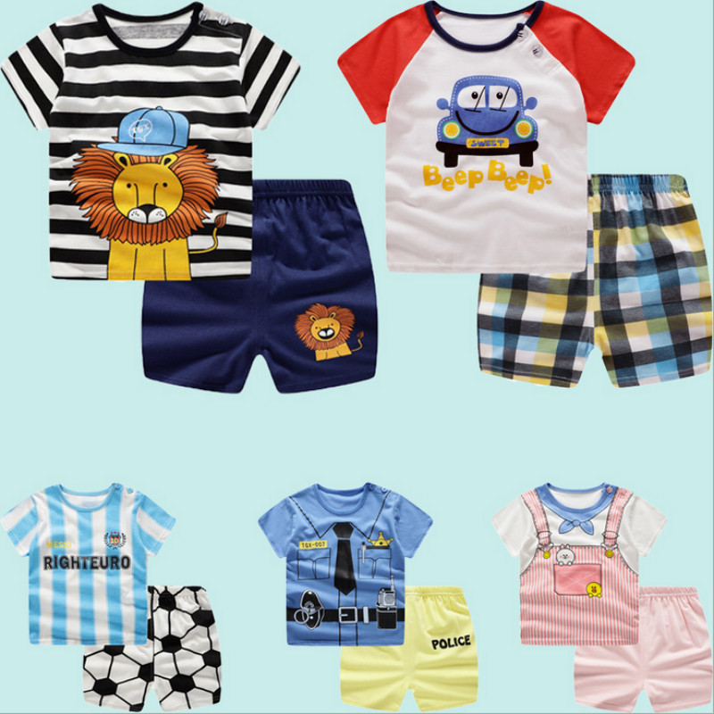Summer Baby Boy Clothes Cotton Baby Girls Clothes Infant Kid Clothing Newborn Baby Clothes Cute Whale T-Shirt+Shorts Bebe Short