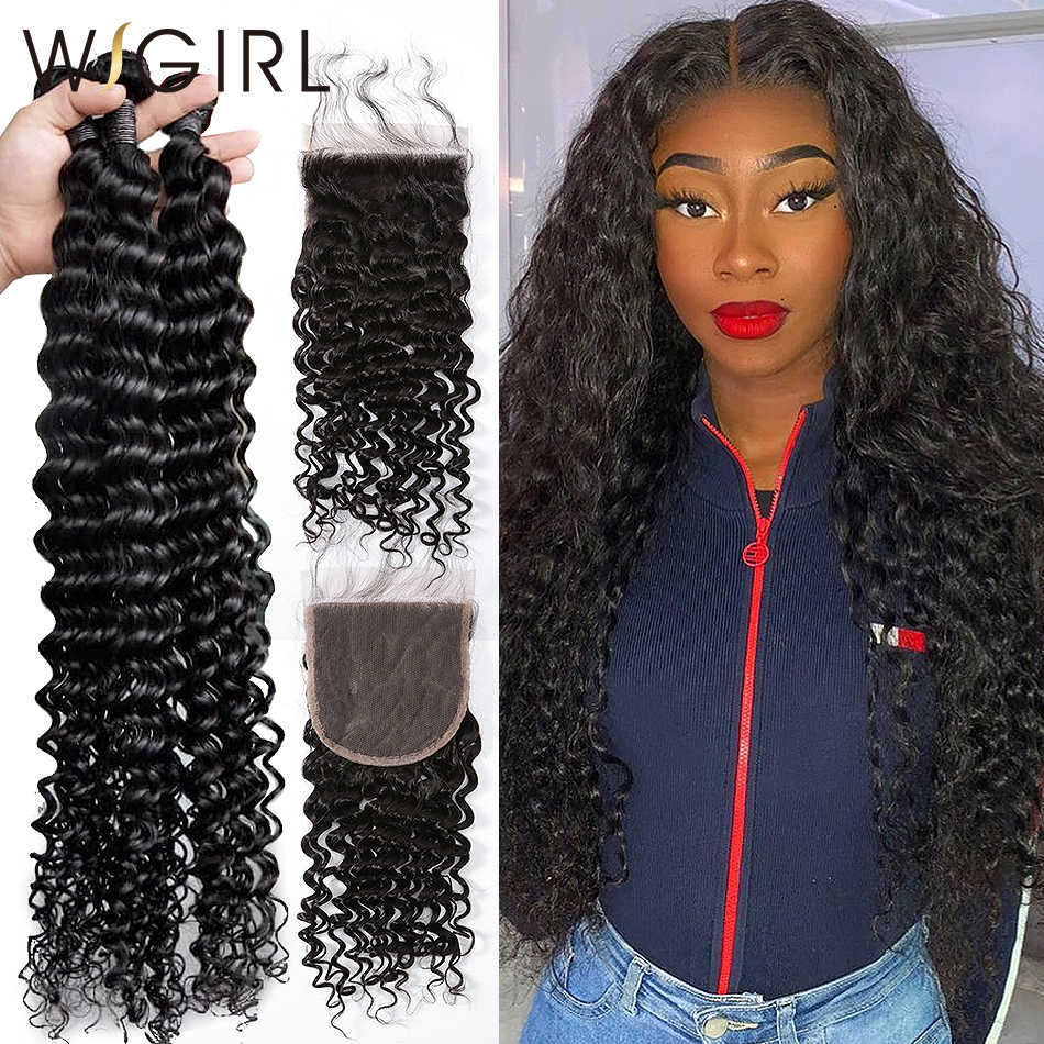 Wigirl 8- 28 30 Inch Deep Wave Bundles With Closure Brazilian Remy Curly Human Hair Water Wave 3 4 Bundles Weave Lace Closure