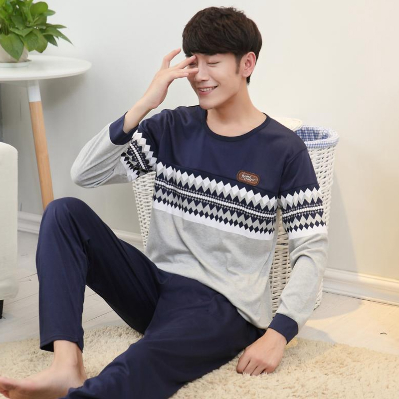 Casual Striped Cotton Pajamas Sets For Men 2018 Autumn Winter Long Sleeve Cartoon Pyjamas Male Homewear Loungewear Home Clothes