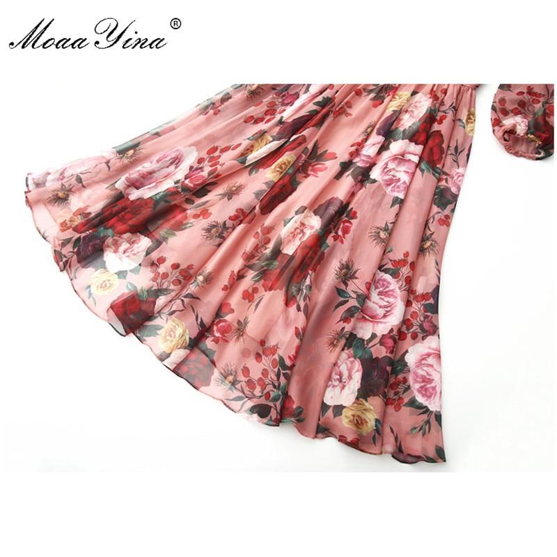 Image 5 - MoaaYina Fashion Designer Runway dress Spring Summer Women Pink  Dress Bow collar Rose Floral Print Elegant Chiffon DressesDresses   -