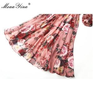 Image 5 - MoaaYina, модное дизайнерское подиумное платье, весна лето, женское розовое платье с бантом, воротник, роза, цветочный принт, элегантные шифоновые платья