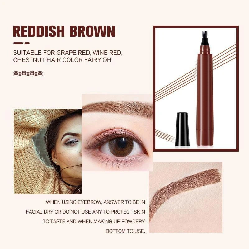Eyebrow Liner 4 Points Eyebrown Pen Waterproof Fork Tip Long Last Sweat-Proof 4 Tip Tint Eyebrow Tattoo Pen Lady Eyebrow Pencil