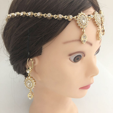 Jewelry Headpiece Hair-Accessories Arabic Wedding Gold Earrings Crystals Women with And