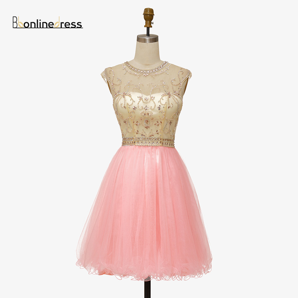Bbonlinedress Pink Homecoming Dress Crystal Beaded Short Gown Cheap Above Knee Mini Prom Graduation Party Dress Free Shipping