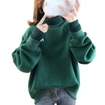 Women's Sweatshirt Turtleneck Fake Two-piece Sweatshirt Women Harajuku 2019 Autumn Loose Pullover Sweatshirts