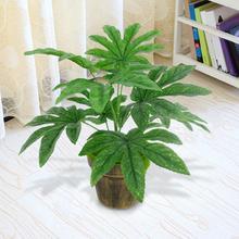 15.5cm x 14.5cm 9 Leaves/1Pc Artificial Green Plant Fatsia Leaf Simulation Bonsai Home Decor Lifelike