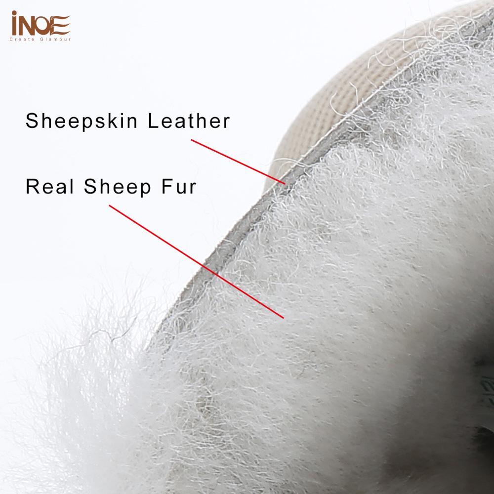 INOE Waterproof Sheepksin Leather Shearling Wool Fur Lined Short Winter Boots Women Ankle Snow Boots Shoes Silver Crystal Strap