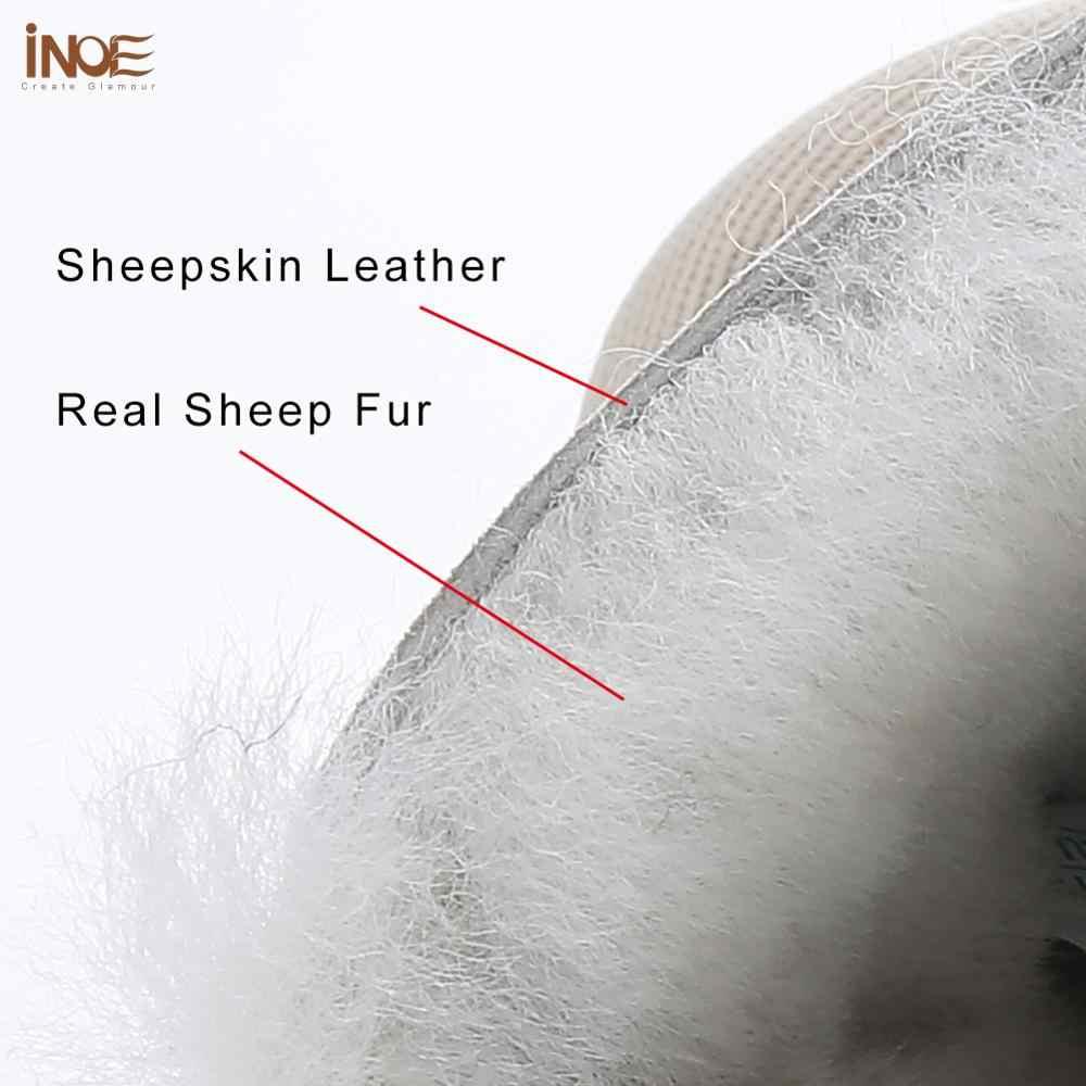 INOE Водонепроницаемые Короткие Зимние ботильоны из овечьей кожи с меховой подкладкой женские зимние ботинки  серебристый ремешок с кристаллами теплые модные удобные зимние полусапоги нескользащая плоская подошва