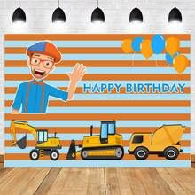 Строительный фон для фотосъемки blippi с днем рождения детский