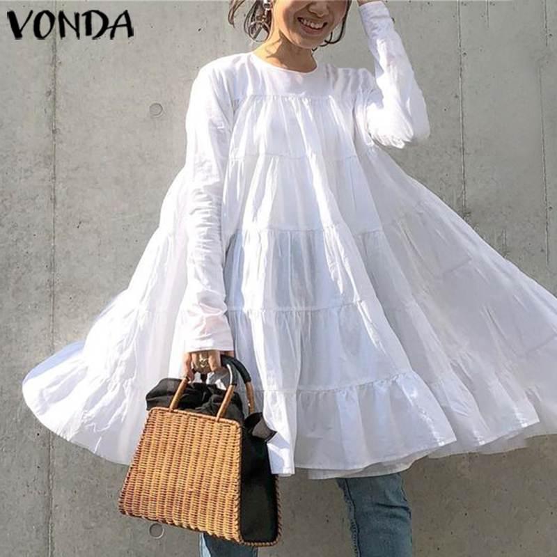 VONDA Mini Dress Women Sexy O Neck Long Sleeve Solid Dress 2020 Summer Holiday Baggy Hem Sundress Casual Loose Vestidos 5XL