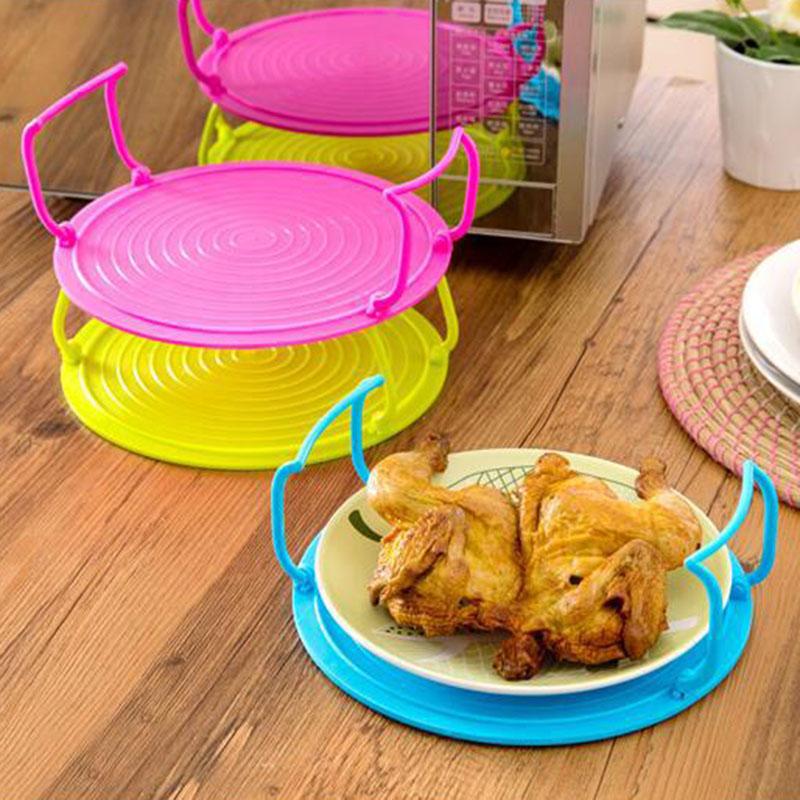 HOT 4 In 1 Microwave Plastic Stand Shelf Mini Heating Food Tray Cooling Rack Multifunction Kitchen Tool NDS