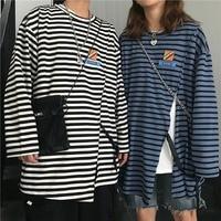 2019 Autumn Fashion Harajuku Stripe Split Round Neck T shirt Long Sleeve T Shirt Shirts Lovers Tide Cotton Loose Casual Clothes