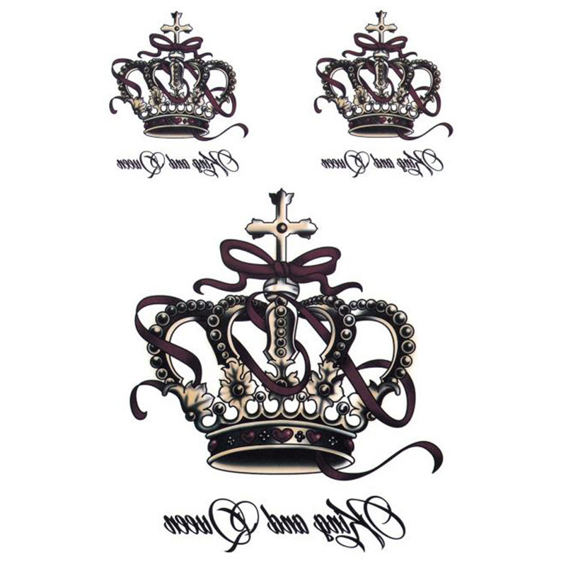 Removable Waterproof Temporary Tattoos Body Art Stickers King And Queen Crown 50JF