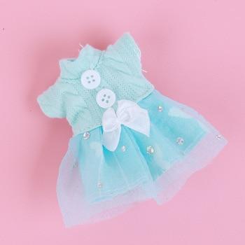 1/8 BJD Dolls Clothes Set 16-18 CM BJD Dolls Lace Flower Dress Sweater 6 Inch BJD Dolls Tops With Skirt For Girls Dolls Clothes - Blue