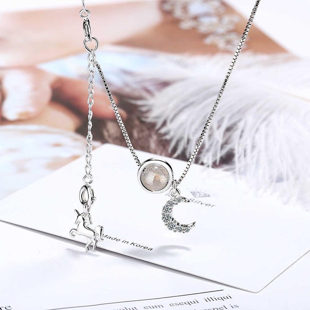 Wesele okazje moda bestseller luksusowe kobiety naszyjnik z okrągła kula kamień księżycowy śliczny koń zwierząt spadek nowiu