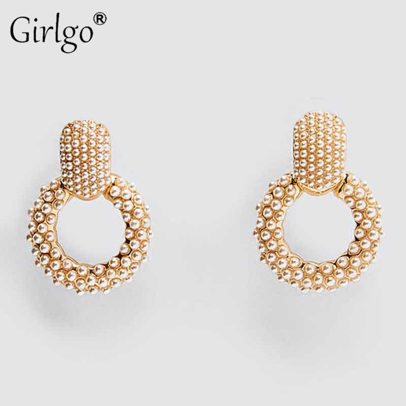Girlgo Vintage Simulated Pearls Round <font><b>ZA</b></font> Drop <font><b>Earrings</b></font> for Women Fashion Metal Maxi Gold Color Pendant <font><b>Earrings</b></font> Wedding Jewelry Wholesale image
