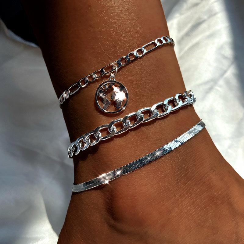 3pcs/set Trendy New Gold Silver Color World Map Anklets Bracelet For Women On Leg Summer Beach Anklet Set Female Foot Jewelry