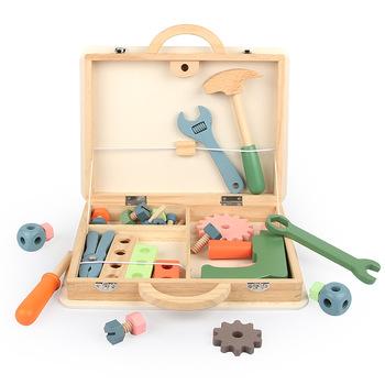 Dzieci drewniane przybornik udawaj zestaw do gry edukacyjne zabawki Montessori nakrętka demontaż śruba montaż symulacja naprawa Carpenter Tool tanie i dobre opinie CN (pochodzenie) Drewna non-edible 5-7 lat Unisex Narzędzia ogrodowe zabawki Model Tool Toys Wooden toys under 14 Toolbox