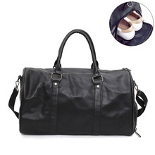 Men's PU Leather Travel Bags High Quality Sport Cabin Luggage Suitcase Casual Weekend Shoulder Handbag With Shoe Pocket S047