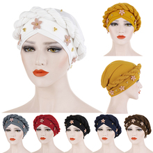 цены India Caps Braided Beaded Turban Scarf New Women Cotton Headwear Headwrap African Pearl Head Wrap Twist Bandana Hair Accessoires