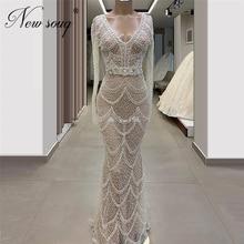 Luxury Illusion Beaded Evening Gowns Vestidos Custom Made 2020 Kaftans Formal Long Dress Mermaid Long Prom Dresses Saudi Arabia