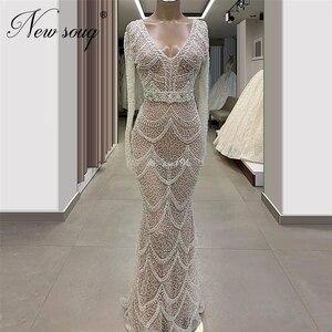 Image 1 - Luxury Illusion Beaded Evening Gowns Vestidos Custom Made 2020 Kaftans Formal Long Dress Mermaid Long Prom Dresses Saudi Arabia