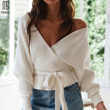 Manoswe Sexy V Neck Ruffle Knitted Sweater Women Pullover Hollow Out Streetwear Jumper Casual Loose Batwing Sleeve Sweater Tops