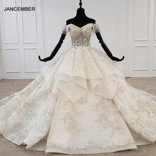 Женское богемное свадебное платье HTL1271, свадебное платье с открытыми плечами, коротким рукавом, аппликацией и блестками, новинка 2020