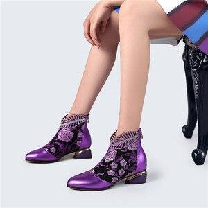 Image 4 - Botines de Mujer de cuero de vaca genuino de lujo bordado de cristal grueso botas de otoño zapatos Botines Mujer 2019