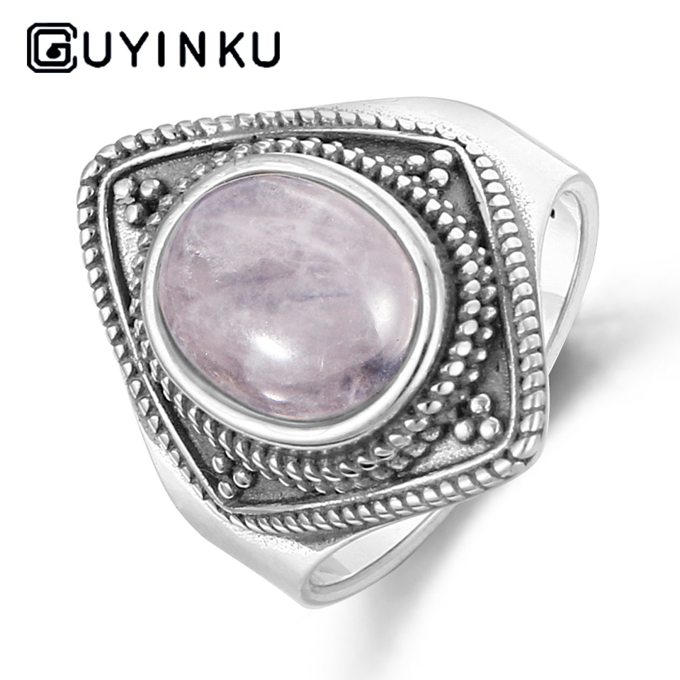 GUYINKU Oval Natural Rose Quartz Ring Elegant Vintage 925 Sterling Silver Jewelry Thai Silver For Women Party Gift Fine Jewelry