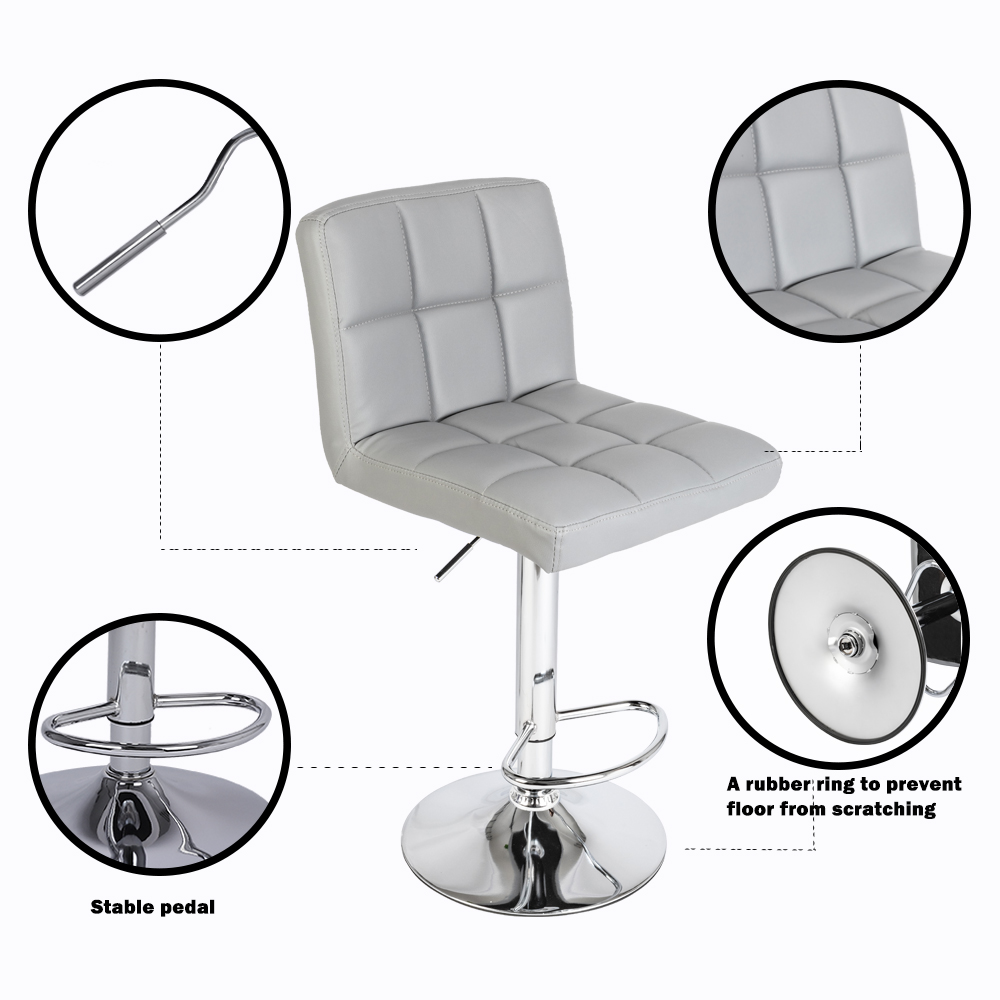 【UK Warehouse】 2pcs 60-80cm 6 Checks Round Cushion No Armrest Bar Stool Gray{Free Shipping UK} Drop Shipping