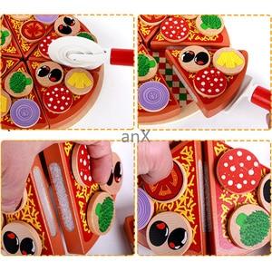Image 5 - 27 sztuk Pizza drewniane zabawki jedzenie gotowanie symulacja zastawa stołowa dzieci kuchnia udawaj zagraj w zabawkę owoce warzywa z zastawą stołową