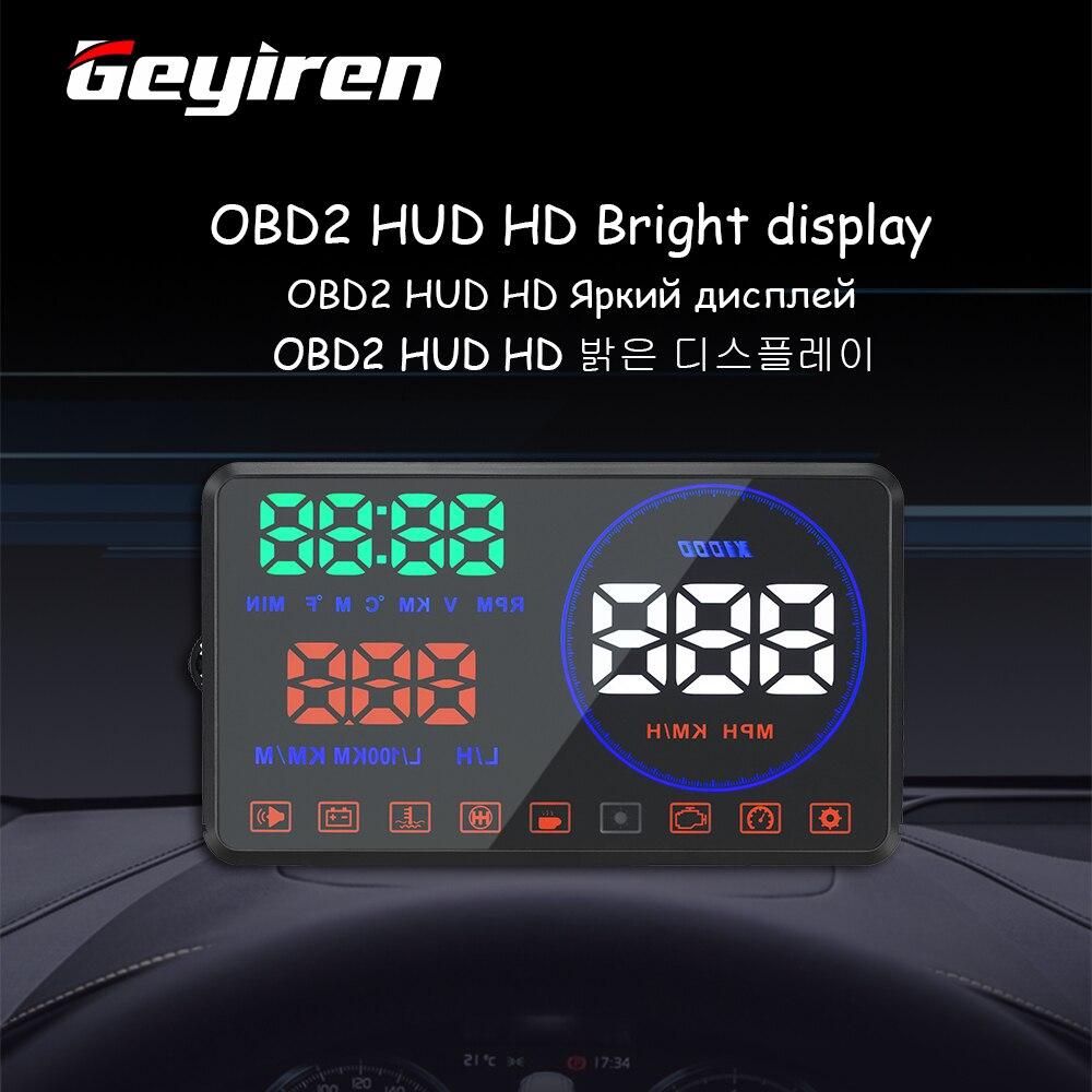 GEYIREN M9 HUD Дисплей для автомобиля 5,5 дюймов лобовое стекло проектор OBD2 EUOBD дисплей данных для вождения автомобиля скорость RPM расход топлива 2018...