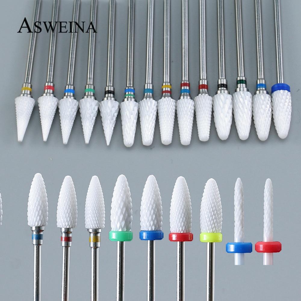 1 pièces en céramique clou foret pour manucure électrique perceuses Machine fraise ongles limes tampons Nail Art équipement accessoire