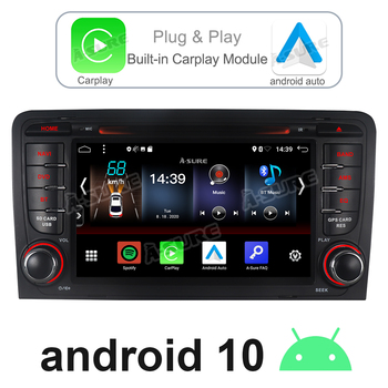 A-Sure 2 Din Android 10 Radio Carplay Stereo DSP GPS DVD Player Navigation For AUDI A3 (2003-2011) RS3 S3 8P 8V 8PA RNSE-PU image