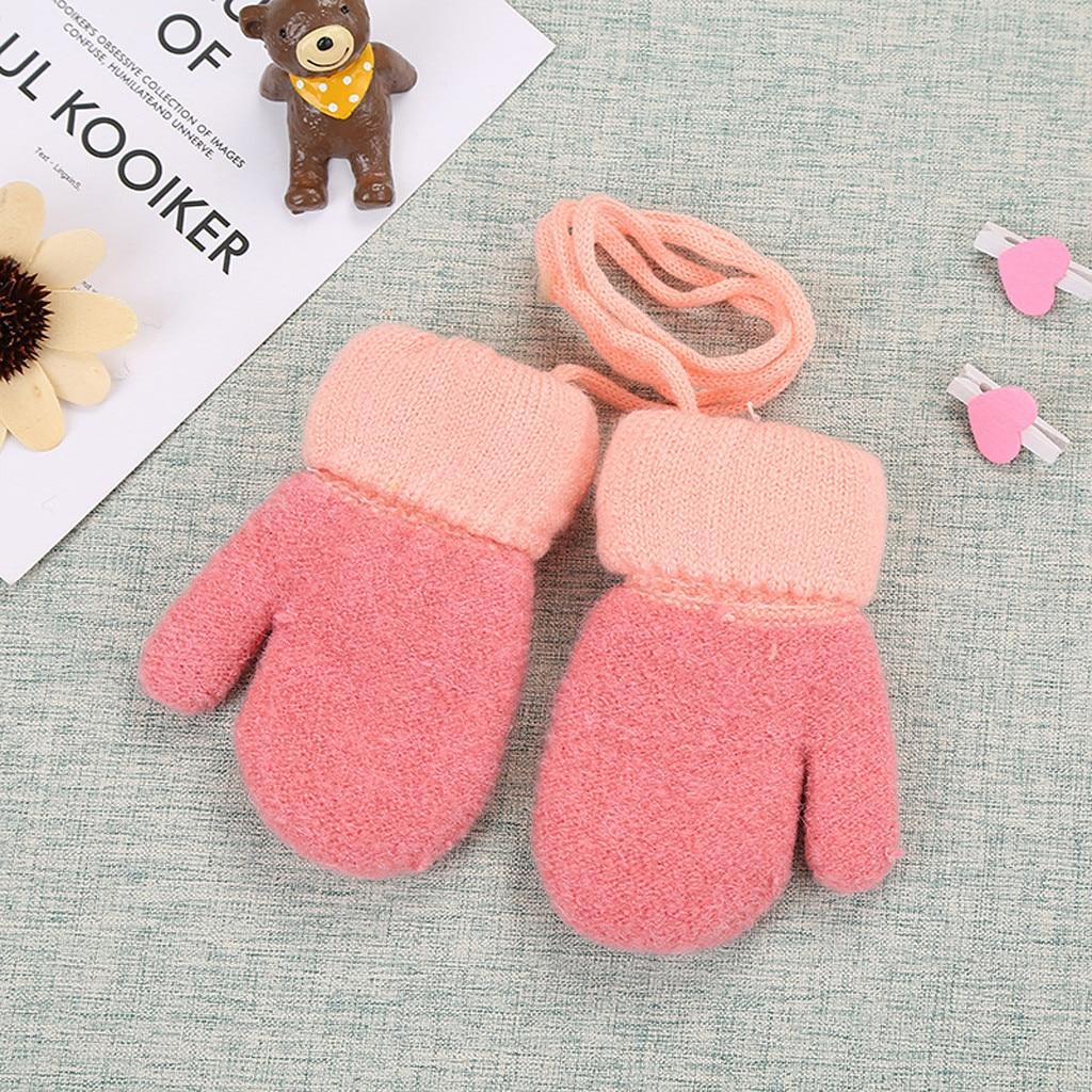 Дети Мальчики Девочки Зима милый твердый, подвесной шею теплые вязаные перчатки дети милые перчатки теплые полный палец перчатки зима