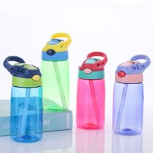 Little handsome children with cups creative baby drinking straw leak-proof portable sports plastic water bottle