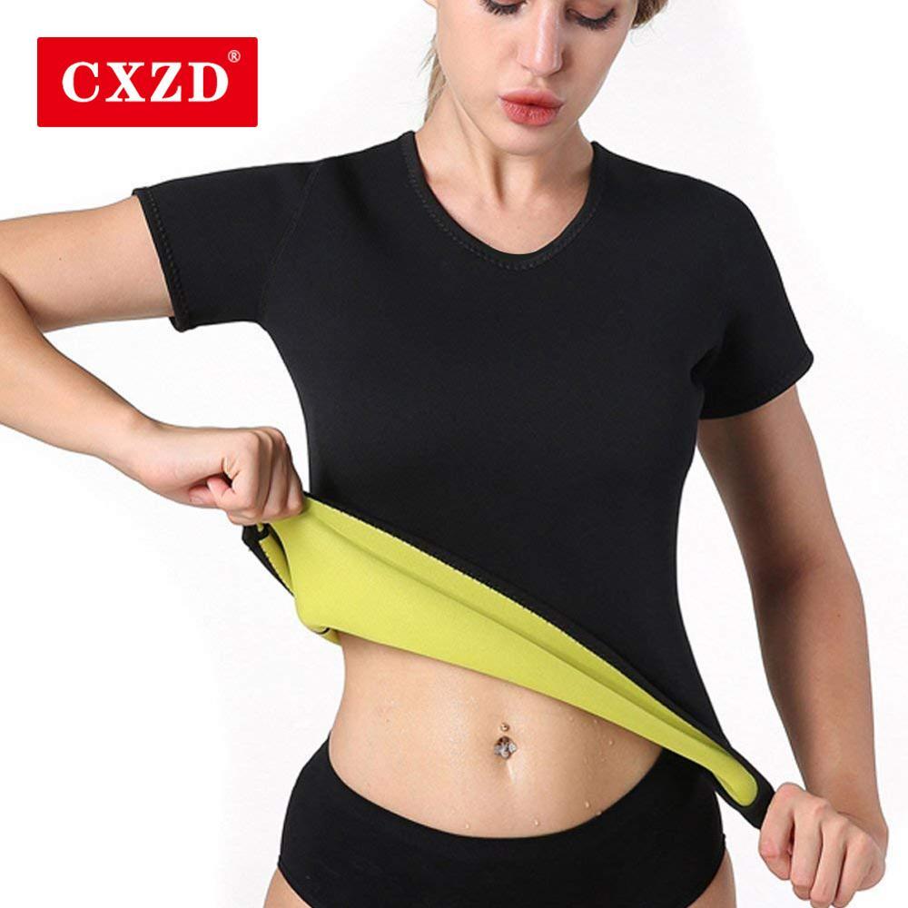 CXZD Plus Size S-5XL Women Neoprene Shaperwear Waist Traine Sauna Sweat Vest Body Shaper Cincher Corset T-Shirts Slimming(China)