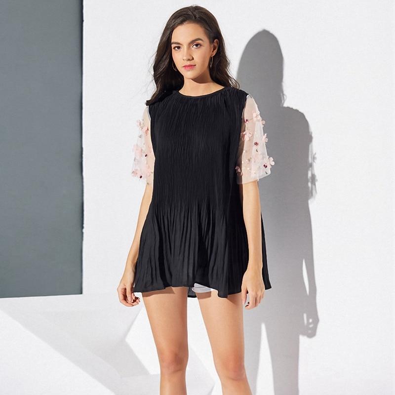 Women Fashion Summer Dress O-Neck Mini Dress Short Sleeve Dress Pleated Dress Short Dress S