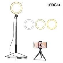 LEDGLE Lámpara LED de pie con USB, 10 lámparas de pie de altura regulables, anillo de llenado de fotos, luces para maquillaje, luz de protección ocular multifunción