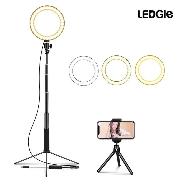 LEDGLE USB רצפת מנורת LED 10 Dimmable גובים סטנד מנורות תמונה למלא טבעת אורות עבור איפור רב פונקציה העין הגנת אור
