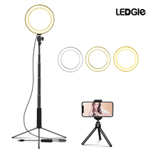LEDGLE USB โคมไฟ LED 10 หรี่แสงได้สูงขาตั้งโคมไฟเติมแหวนไฟสำหรับแต่งหน้า Multi EYE ป้องกันไฟ