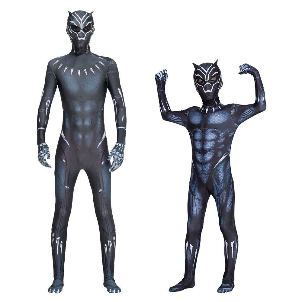Cadılar bayramı siyah panter erkekler kostüm çocuk çocuklar yetişkin erkekler siyah panter çocuk Cosplay kostüm tulum Bodysuit kostüm çocuklar için